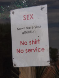 Sign no shirt