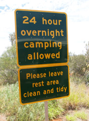 OBT 7 Mt Connor camping sign