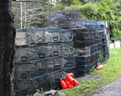 Monhegan scenes lobster traps